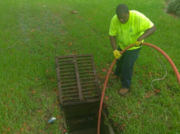 Hydro jetting a storm drain that's clogged in Miami. We unclog any clogged storm drain in Palm Beach, Brwoard County and Miami.
